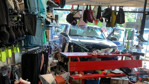 No injuries reported after car crashes through front of Victoria store