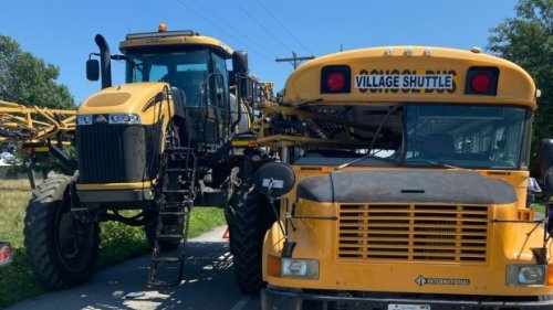 Minor injuries after collision on Wolfe Island between crop sprayer and shuttle bus