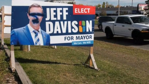 Calgary mayoral candidate's signs damaged, claims he's been targeted