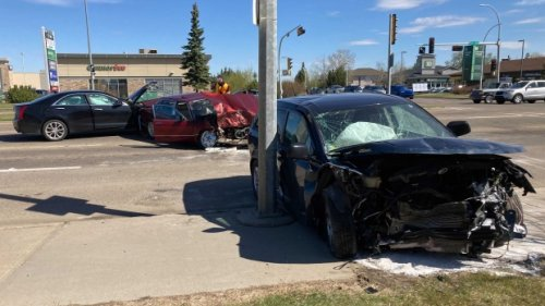 Man taken to hospital after 3-car collision in north Edmonton