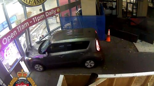 Caught on cam: Man suspected of impaired driving crashes into Victoria mall