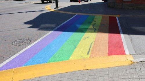 Orangeville pride crosswalk defaced along with alley behind library