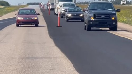 Sask. roadworker says speeding car weaved through highway construction zone and put lives at risk