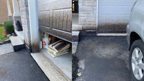 Ontario woman says botched driveway sealing job makes house look like 'bomb exploded'