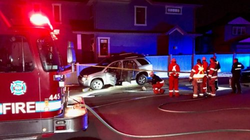 SUV crash sends man to hospital, knocks out power in north Edmonton
