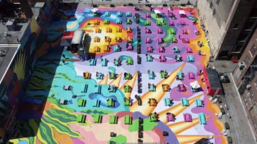 'Pouring out happiness': Massive colourful mural on Toronto patio celebrates pandemic reopening