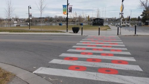 Poppy crosswalk in Chestemere, Alta. unveiled at official event
