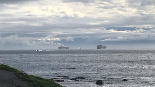 Crew members rescued as container ship burns off B.C. coast.