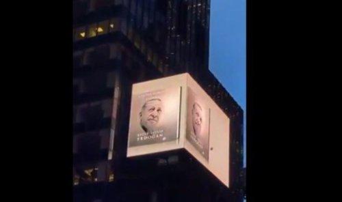 Erdoğan'ın kitabı Times Meydanı'ndaki ekranlarda tanıtıldı