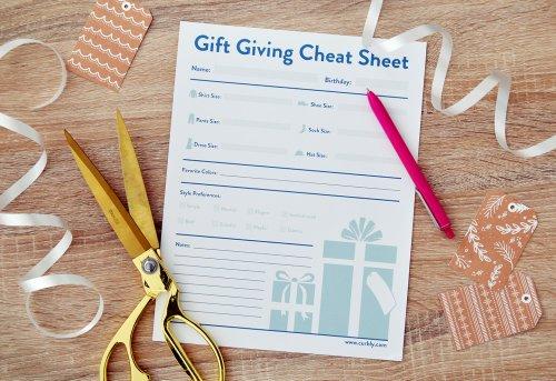 Free Printable Gift Giving Cheat Sheet