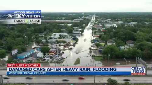 WATCH: Heavy rain and flooding leave some drivers stuck for hours across Jacksonville