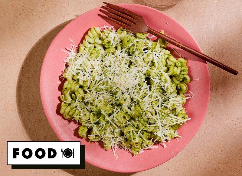 Pasta with watercress and hazelnut pesto recipe