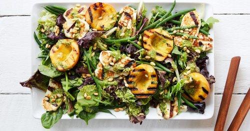 Grilled Peach and Halloumi Salad with Lemon-Pesto Dressing