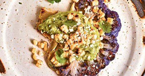 Grilled Cauliflower Steaks with Avocado-Cilantro Sauce