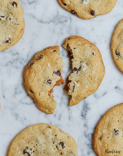 Caramel-Stuffed Chocolate-Chip Cookies