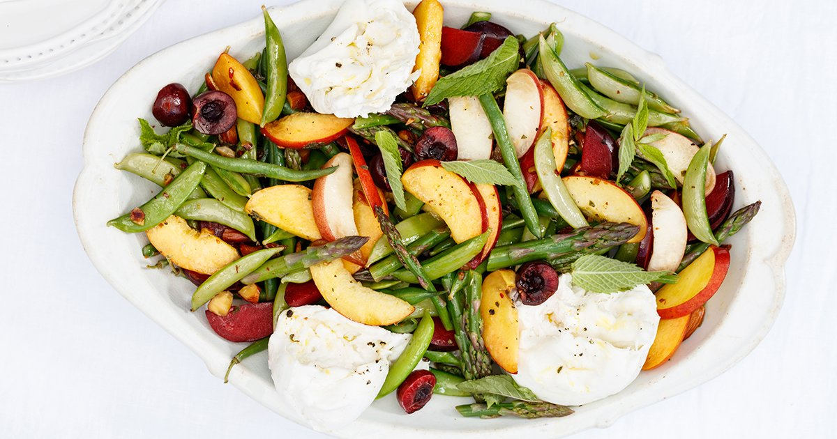 20-Minute Burrata Salad with Stone Fruit and Asparagus