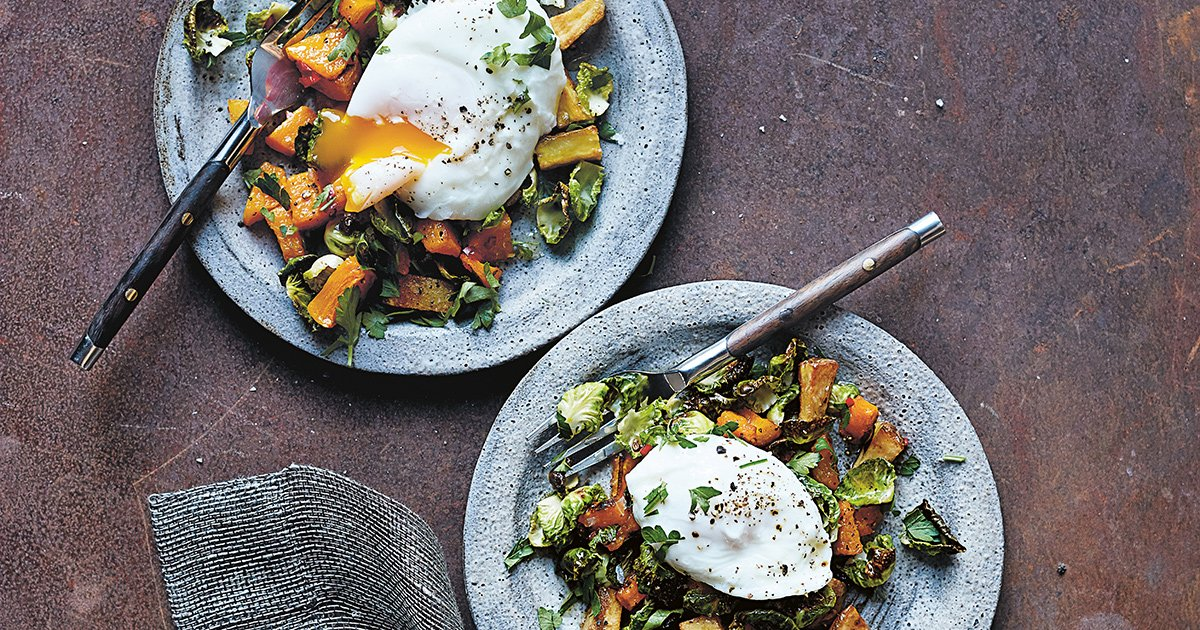 Roasted Pumpkin and Brussels Sprouts with Poached Eggs