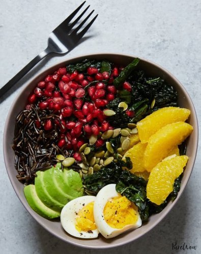 Buddha Bowl with Kale, Avocado, Orange and Wild Rice