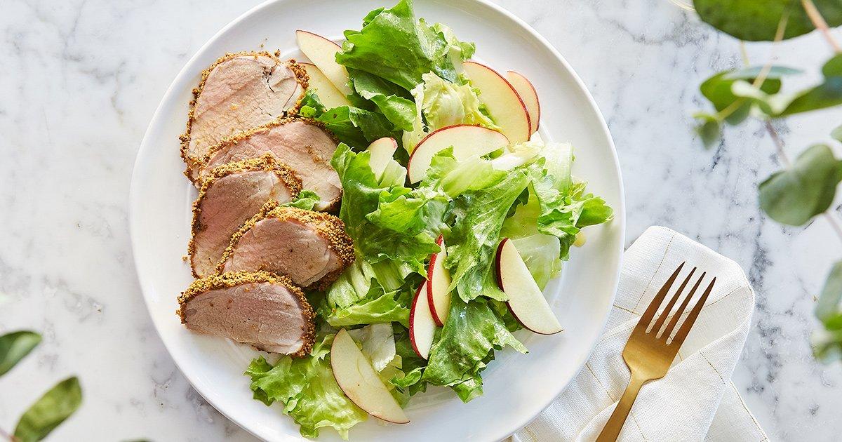 Pistachio-Crusted Pork Tenderloin with Apple and Escarole Salad
