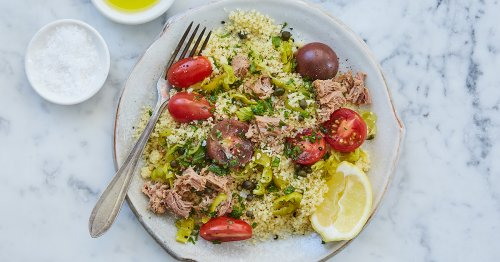 15-Minute Mediterranean Couscous with Tuna and Pepperoncini