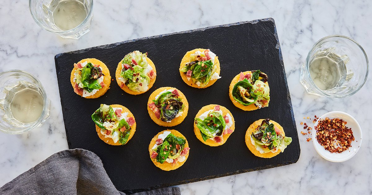 Cheesy Polenta Bites with Brussels Sprouts and Pancetta