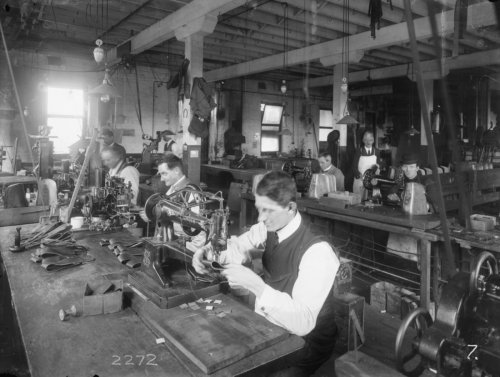 Making horse harnesses in 1919