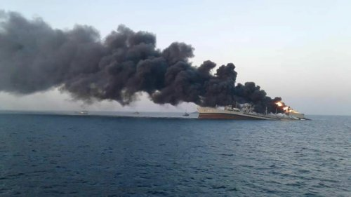 Iran's largest warship catches fire, sinks in Gulf of Oman
