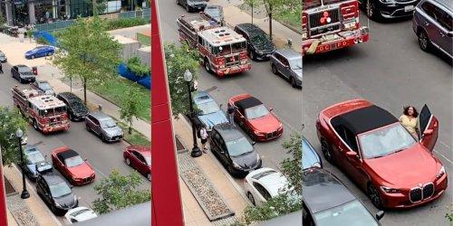 Video: Karen blocks firetruck during apparent emergency so that she can shop