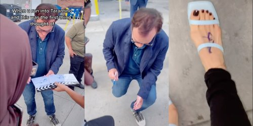 Quentin Tarantino signs, rates foot, and fans can't get over how nice he is