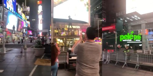 Video: Man hovering around Times Square has the internet breaking out Green Goblin jokes