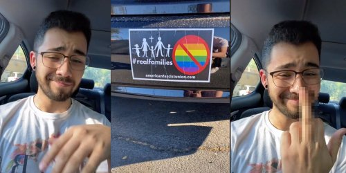 'I might get fired for this one': Queer TikToker exposes his boss' anti-LGBTQ bumper sticker