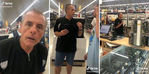 'Learn English': Viral TikTok shows ex-firefighter having racist meltdown over non-English-speaking Walmart worker