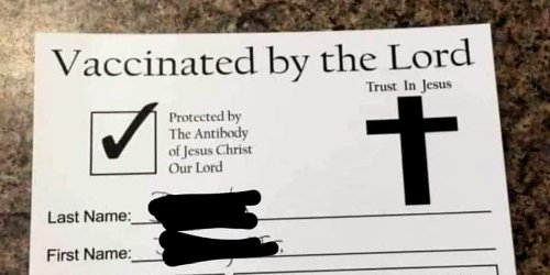 What's up with this viral 'Vaccinated by the Lord' card?