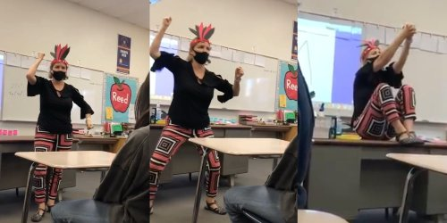 White teacher filmed whooping, 'war hooping,' and 'tomahawk chopping' in class in Native American garb