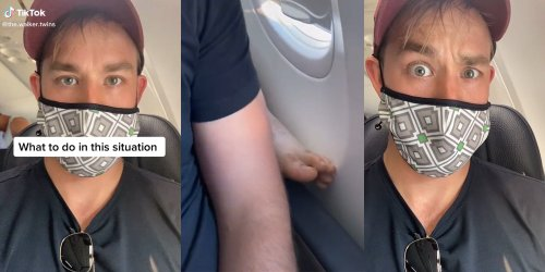 'I can't think of a better solution': TikToker's tactic to getting foot off his armrest on plane lauded