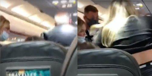 Woman slaps her husband as he goes on anti-mask tirade on flight