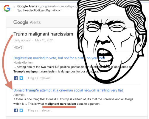 Hunter's super snarky piece: from Kos to Alternet to my Google News search for malignant narcissism