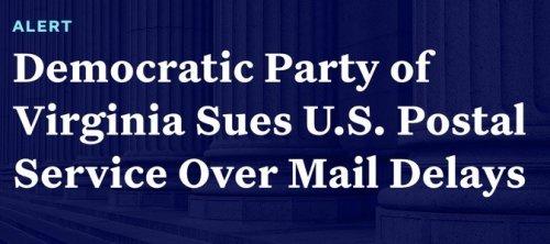 Democratic Party of Virginia sues USPS over delays