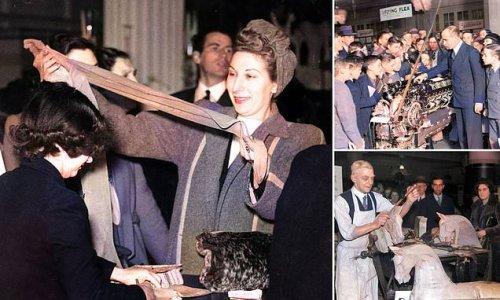 Moment Selfridges shopper got her hands on nylon tights in 1946