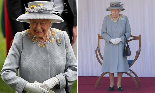 Queen looks radiant in recycled dove grey coat at Trooping the Colour