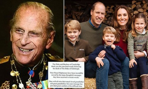 Prince William and Kate reveal their children miss Prince Philip