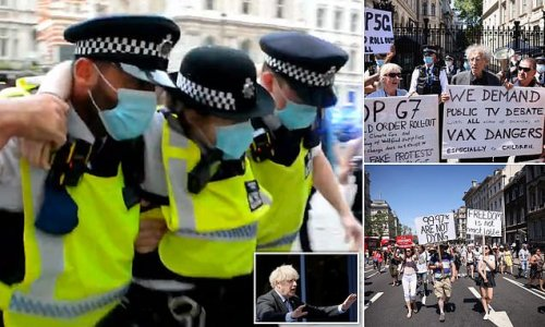 Maskless anti-lockdown protesters march on Downing Street