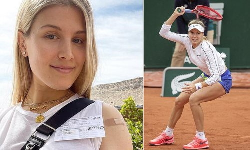Tennis star Eugenie Bouchard, 27, celebrates getting her Covid-19 jab