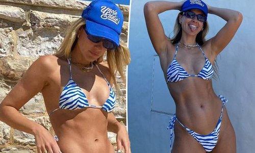 Laura Dundovic shows off her ripped figure in an animal print bikini