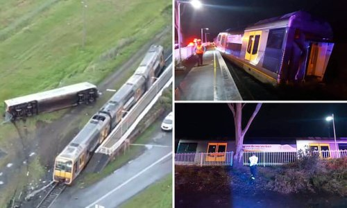 Train FLIPS on its side after slamming into an abandoned car