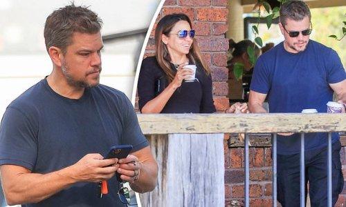Matt Damon and wife Luciana Barroso pick up coffees in Byron Bay