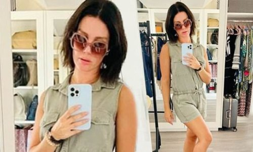 Rebekah Vardy shows off her figure in a thigh-skimming playsuit