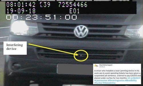Driver fixed laser jammer onto his work van to dodge speeding tickets