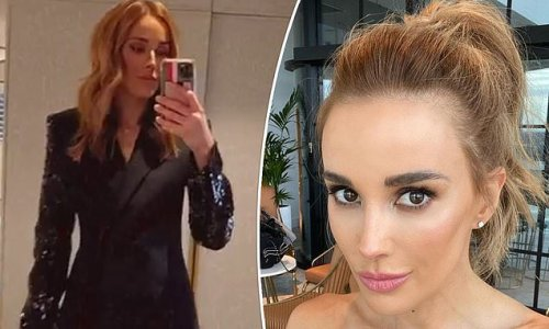 Bec Judd shows off her trim pins in a $5K designer outfit on night out