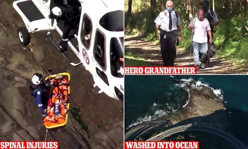 Heroic grandfather saves wife after they were swept into the ocean